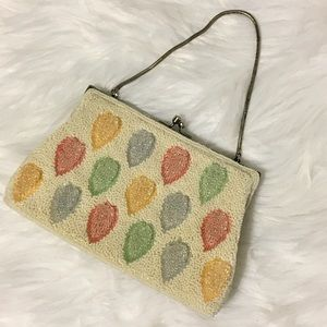 Vintage beaded purse, cream with colorful leaves